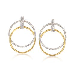 .50 ct. t.w. Diamond Double Circle Drop Earrings in 14kt Gold Over Sterling, , default