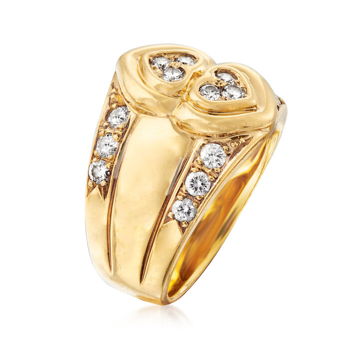 C. 1980 Vintage Dior .50 ct. t.w. Diamond Double-Heart Ring in 18kt Yellow Gold