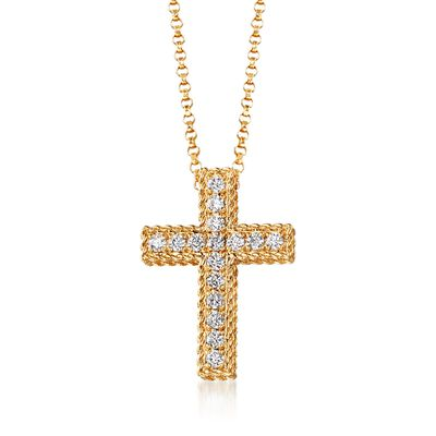 "Roberto Coin ""Princess"" .23 ct. t.w. Diamond Cross Necklace in 18kt Yellow Gold"