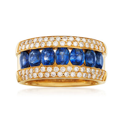 C. 1990 Vintage 1.40 ct. t.w. Sapphire and .66 ct. t.w. Pave Diamond Ring in 18kt Yellow Gold, , default