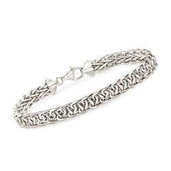 14kt White Gold Wheat-Link Bracelet, , default