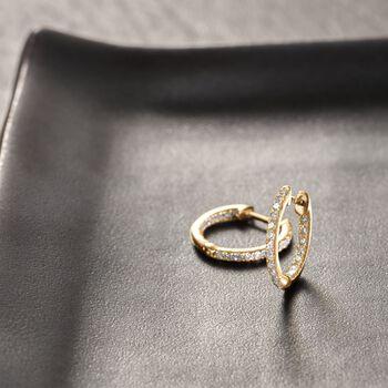 """.20 ct. t.w. Diamond Inside-Outside Huggie Hoop Earrings in 14kt Yellow Gold. 3/8"""" , , default"""