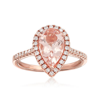 1.60 Carat Morganite and .34 ct. t.w. Diamond Ring in 14kt Rose Gold, , default