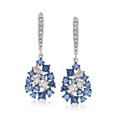 .60 ct. t.w. Sapphire and .25 ct. t.w. Diamond Pear-Shaped Drop Earrings in 18kt White Gold