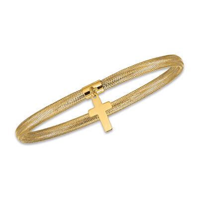 Italian 14kt Yellow Gold Cross Dangle Mesh Bracelet, , default