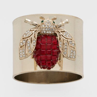 Joanna Buchanan Set of 2 Ruby Sparkle Bee Napkin Rings, , default