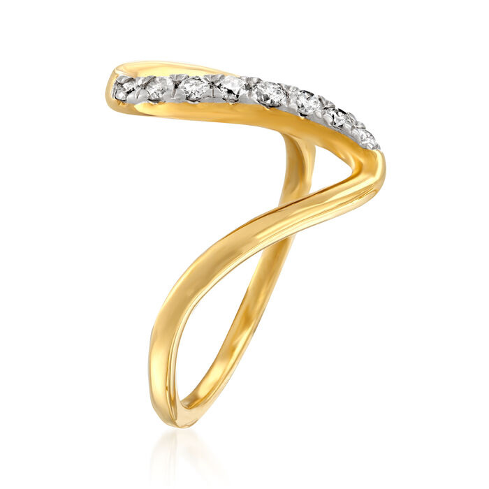 .25 ct. t.w. Diamond Wave Ring in 18kt Gold Over Sterling