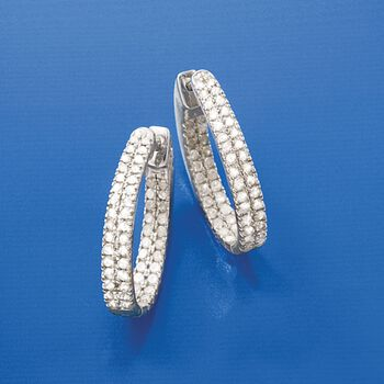 "1.50 ct. t.w. Diamond Inside-Outside Hoop Earrings in Sterling Silver. 7/8"", , default"