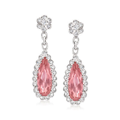 C. 1990 Vintage 4.10 ct. t.w. Certified Pink Topaz and .65 ct. t.w. Diamond Drop Earrings in 18kt White Gold