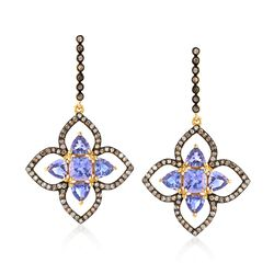 5.00 ct. t.w. Tanzanite and 1.41 ct. t.w. Champagne Diamond Floral Drop Earrings in 18kt Yellow Gold Over Sterling Silver, , default