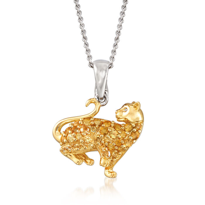 .50 ct. t.w. Citrine Cat Pendant Necklace in Two-Tone Sterling Silver