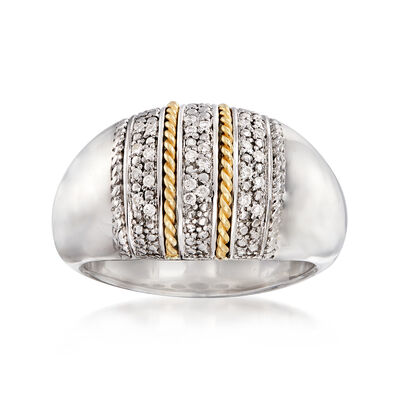.11 ct. t.w. Diamond Multi-Row Ring in Sterling Silver and 14kt Yellow Gold, , default