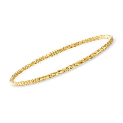 Italian 14kt Yellow Gold Hammered Bangle Bracelet, , default