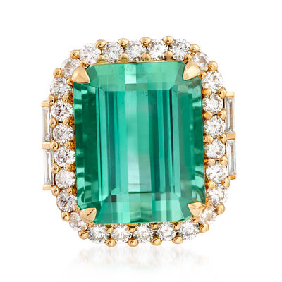 20.00 Carat Green Tourmaline and 1.60 ct. t.w. Diamond Ring in 18kt Yellow Gold, , default
