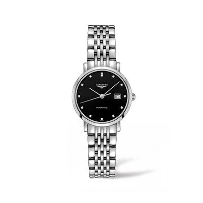 Longines Elegant Women's 29mm Automatic Stainless Steel Watch with Diamond Accents, , default