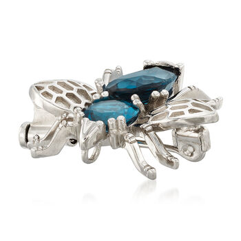 6.50 ct. t.w. London Blue Topaz Insect Pin/Pendant in Sterling Silver. Pin, , default