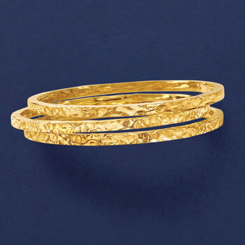 Italian 24kt Gold Over Sterling Silver Jewelry Set: Three Hammered Bangle Bracelets