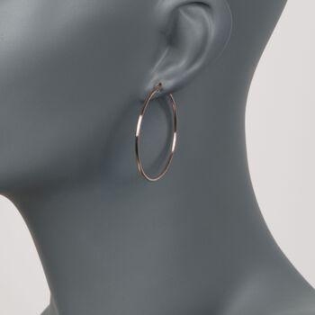 "1.5mm 14kt Rose Gold Large Hoop Earrings. 1 5/8"", , default"