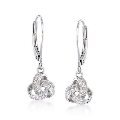 Diamond-Accented Love Knot Drop Earrings in Sterling Silver, , default