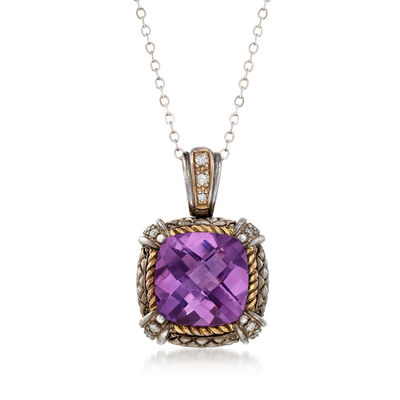 C. 2000 Vintage 5.40 Carat Amethyst and .15 ct. t.w. Diamond Pendant Necklace in Sterling and 18kt Gold, , default