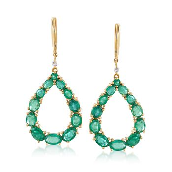 6.10 ct. t.w. Emerald Pear-Shaped Drop Earrings With Diamond Accents in 18kt Yellow Gold, , default