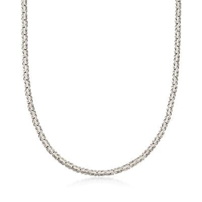 Sterling Silver Flat Byzantine Necklace, , default