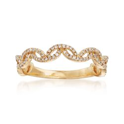 .17 ct. t.w. Diamond Scallop Ring in 14kt Yellow Gold, , default