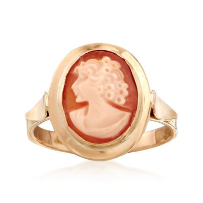 Italian Bezel-Set Carved Shell Cameo Ring in 14kt Yellow Gold, , default