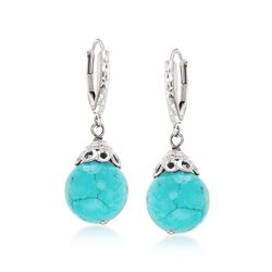 Simulated Turquoise Drop Earrings in Sterling Silver, , default