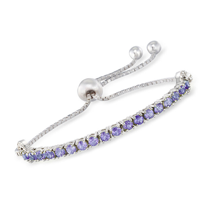1.70 ct. t.w. Tanzanite Bolo Bracelet with White Zircon Accents in Sterling Silver. Adjustable Size
