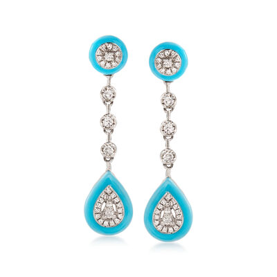 .25 ct. t.w. Diamond Drop Earrings with Turquoise Enamel in 18kt White Gold, , default