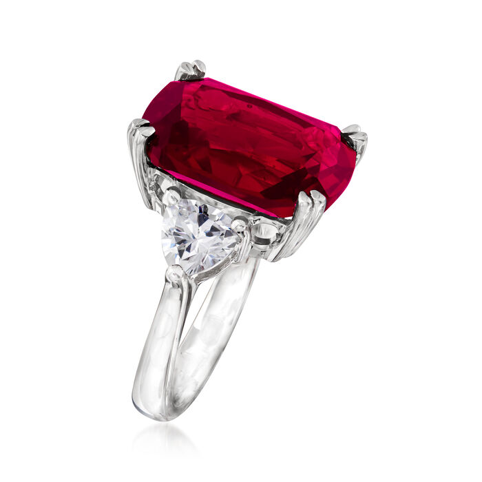 12.70 Carat Simulated Ruby and 1.75 ct. t.w. CZ Ring in Sterling Silver