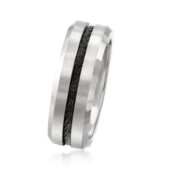 Men's 8mm Silver-Tone Cobalt Wedding Ring with Black Stainless Steel, , default
