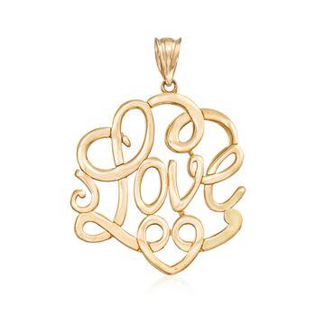 "14kt Yellow Gold ""Love"" Pendant , , default"