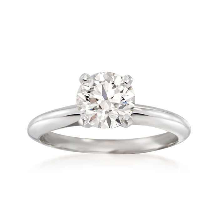 1.24 Carat Certified Diamond Solitaire Ring in 14kt White Gold, , default