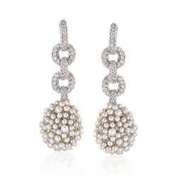 C. 1990 Vintage 5.50 ct. t.w. Diamond and Cultured Pearl Cluster Drop Earrings in 18kt White Gold, , default