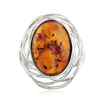 Oval Amber Openwork Ring in Sterling Silver, , default