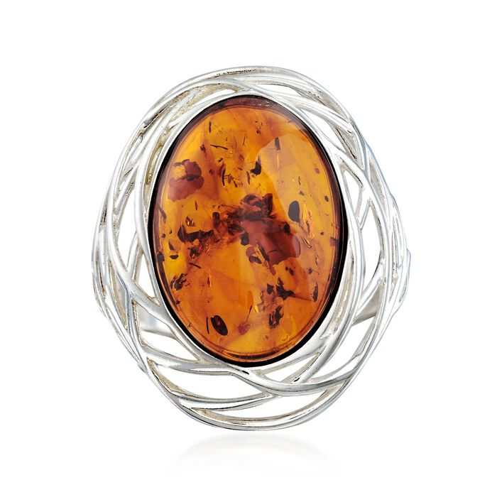 Oval Amber Openwork Ring in Sterling Silver