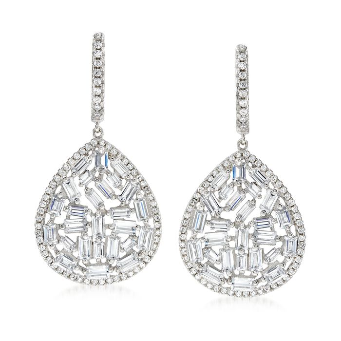 5.45 ct. t.w. CZ Mosaic Teardrop Earrings in Sterling Silver , , default