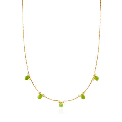 Italian 4.50 ct. t.w. Peridot Drop Station Necklace in 14kt Yellow Gold, , default