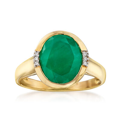 3.00 Carat Emerald Ring with Diamond Accents in 14kt Yellow Gold