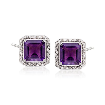 8.00 ct. t.w. Amethyst and .19 ct. t.w. Diamond Earrings in Sterling Silver