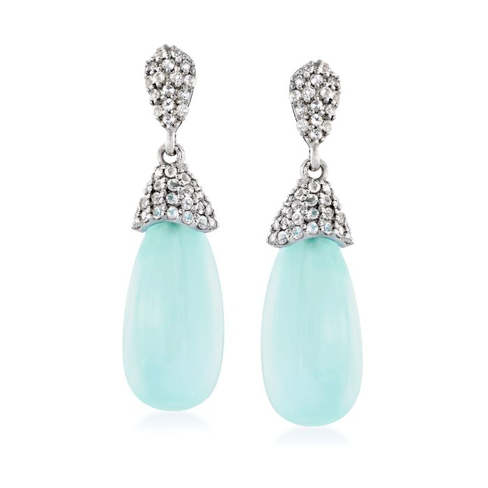 Aqua Chalcedony and 2.40 ct. t.w. White Topaz Drop Earrings in Sterling Silver, , default