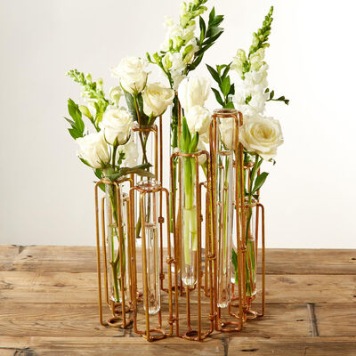 """Lavoisier"" Set of Ten Hinged Flower Vases in Antiqued Golden Finish, , default"