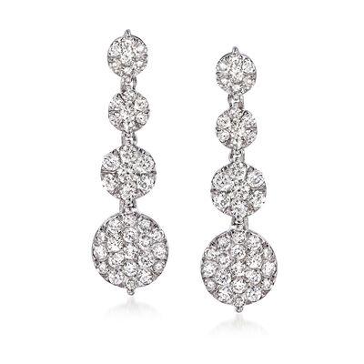 1.00 ct. t.w. Diamond Circle Drop Earrings in 14kt White Gold