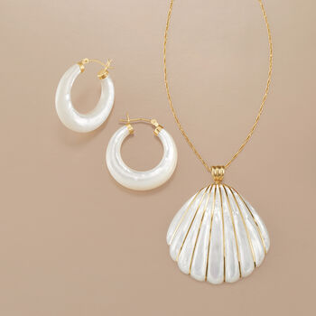 """Mother-Of-Pearl Seashell Pendant Necklace with 4-4.5mm Cultured Pearls in 14kt Yellow Gold. 18"""", , default"""