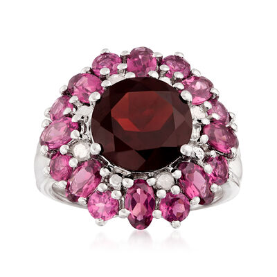 4.20 ct. Garnet and 3.20 ct. t.w. Rhodolite Garnet Ring with Diamonds in Sterling Silver, , default