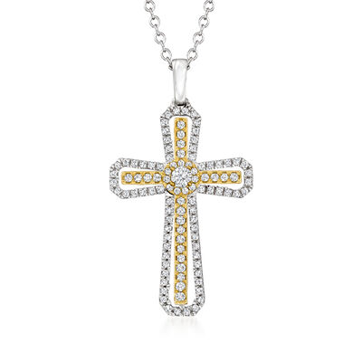 .40 ct. t.w. Diamond Cross Pendant Necklace in Two-Tone Sterling Silver