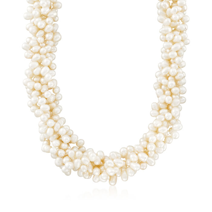 5-6mm Cultured Pearl Torsade Necklace with Sterling Silver