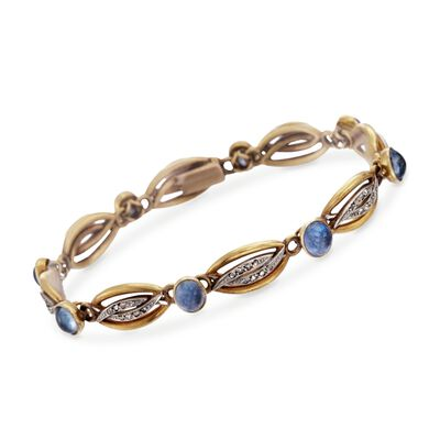 C. 1940 Vintage 7.20 ct. t.w. Sapphire and .50 ct. t.w. Diamond Bracelet in 22kt Yellow Gold, , default